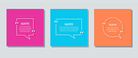 Quote text box. Speech bubbles on color background. Template frames quotations. Vector. Set of info comments and messages in textboxes. Colorful retro illustration in line style.