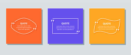 Quote text box. Quotations frame template. Vector. White info comments and messages in textboxes on color background. Set of speech bubbles. Colorful illustration in line style with rectangle and oval