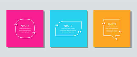 Quote text box. Quotations frame template. Vector. Set of speech bubbles on color cards. White info comments and messages in textboxes. Colorful illustration with square, circle and rectangle.