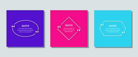 Quote text box. Quotations frame template. Vector. White info comments and messages in textboxes on color card. Set of speech bubbles. Colorful illustration with oval, rhombus and hexagon. Line art