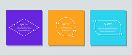 Quote frame template. Quotations text box. Vector. White info comments and messages in textboxes on color card. Set of speech bubbles with rhombus, circle and rectangle. Colorful illustration. Stock Illustratie