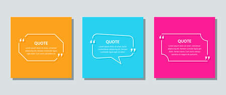 Quote text box. Quotations frame template. Vector. Speech bubbles. Set of white info comments and messages in textboxes on color background. Colorful illustration. Cards with rectangle and octagon.