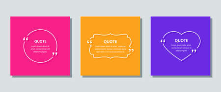 Quote frame template. Quotations text box. Vector. White info comments and messages in textboxes on color background. Set of speech bubbles. Cards with phrases in brackets. Colorful illustration.
