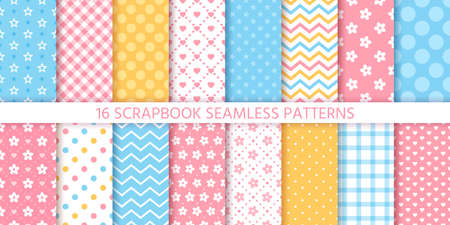 Scrapbook seamless pattern. Vector. Cute backgrounds. Set textures with polka dots, flowers, stars, zigzag, hearts, and plaid. Retro print. Pastel colors illustration. Geometric chic trendy backdrop.