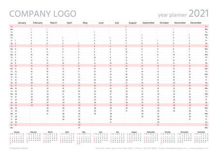 2021 year planner calendar. Vector. Wall calender template. Annual organizer. Week starts Sunday. Schedule page in English. Business illustration in minimal design. Agenda diary with 12 months Stock Illustratie