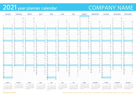 2021 year planner calendar. Vector. Wall calender template. Week starts Sunday. Annual organizer. Schedule page. Agenda diary with 12 months in English. Business illustration in minimal design.