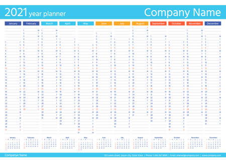 2021 year planner calendar. Vector. Wall calender template. Week starts Sunday. Annual organizer. Schedule page. Agenda diary with 12 months. Business illustration. A4 Paper Size. Simple design. Stock Illustratie