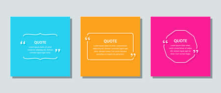 Quote text box. Quotations frame template. Vector. White info comments and messages in textboxes on color background. Set of speech bubbles. Cards with phrases in brackets. Colorful illustration. Stock Illustratie