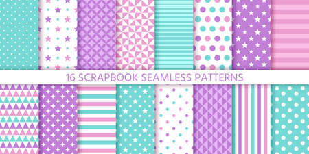 Scrapbook pattern. Vector. Seamless background. Cute textures with polka dot, stripes, stars, circles and triangles. Set chic packing paper. Trendy print for scrap design. Modern Color illustration.