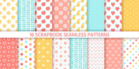 Scrapbook seamless pattern. Vector. Cute backgrounds. Set textures with polka dots, flowers, fruits, hearts and leaves. Retro prints. Pastel colors illustration. Trendy packing papers. Chic backdrops.