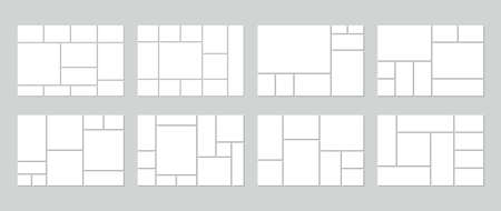 Photo collage template. Vector. Mood board. Set of picture grids. Blank moodboard background. Mosaic frame banner. Photography album layout. Horizontal design of mockup. Simple illustration. Vecteurs