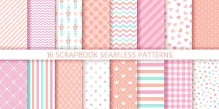 Scrapbook seamless pattern. Baby girl background. Vector. Set baby shower textures with stripe, zigzag, polka dot, heart, plaid. Cute print. Pastel pink illustration. Packing paper. Geometric backdrop Stock Illustratie