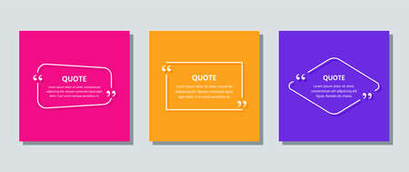 Quote frame template. Quotations text box. Vector. White info comments in textboxes on color background. Cards with phrases in brackets. Set of speech bubble messages. Colorful illustration. Stock Illustratie