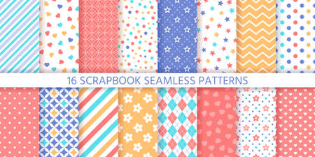 Scrapbook seamless pattern. Vector. Cute backgrounds. Set prints with polka dot, heart, flower, star, zigzag and rhombus. Colorful illustration. Trendy packing papers. Retro textures. Chic backdrops Stock Illustratie