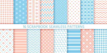 Scrapbook seamless pattern. Baby shower background. Vector. Set cute textures with polka dot, stripe, zigzag, heart, flower and wave. Cute geometric print. Pastel pink blue illustration. Packing paper Stock Illustratie