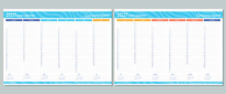 2021 year planner calendar. Vector. Week starts Sunday. Wall calender template. Annual organizer. Schedule page. Agenda diary with 12 months. A4 Paper Size. Simple design. Business illustration.