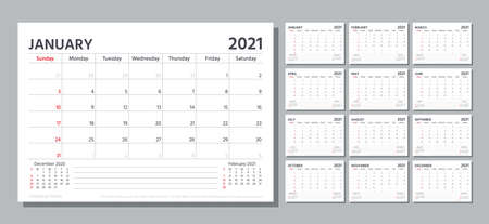Planner 2021. Week starts Sunday. Calendar template. Vector. Table schedule grid. Yearly stationery organizer with 12 month. Calender layout. Horizontal monthly corporate diary. Simple illustration. Stock Illustratie