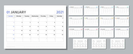 Planner 2021. Week starts Sunday. Calendar template. Vector. Yearly stationery organizer. Table schedule grid. Calender layout with 12 month. Horizontal monthly corporate diary. Simple illustration. Stock Illustratie