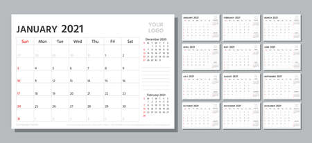 Planner 2021. Week starts Sunday. Calendar template. Vector. Yearly stationery organizer. Table schedule grid. Calender layout with 12 month. Horizontal monthly corporate diary. Simple illustration.