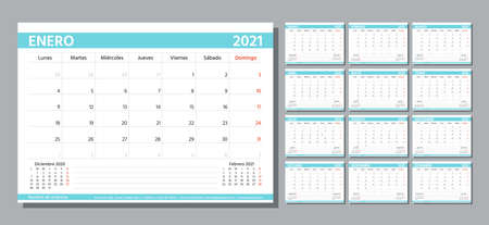 Planner 2021 year. Spanish calendar template. Week starts Monday. Vector. Table schedule grid. Yearly stationery organizer. Calender layout with 12 month. Horizontal monthly diary. Simple illustration Ilustracje wektorowe