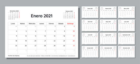 Spanish 2021 year planner. Calendar template. Week starts Monday. Vector. Table schedule grid. Calender layout with 12 month. Yearly stationery organizer. Horizontal monthly diary. Simple illustration