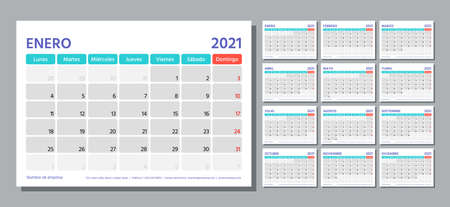 2021 Spanish planner. Calendar template. Week starts Monday. Vector. Calender layout with 12 month. Table schedule grid. Yearly stationery organizer. Horizontal monthly diary. Simple illustration Ilustración de vector
