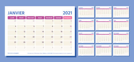 2021 French planner. Calendar template. Vector. Week starts Monday. Table schedule grid. Calender layout with 12 month. Yearly stationery organizer. Horizontal monthly diary. Simple illustration Stock Illustratie