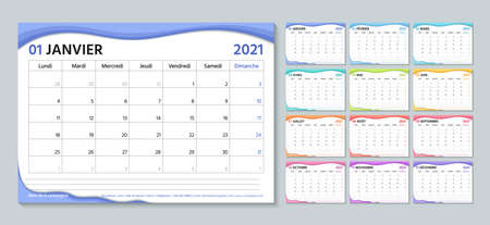 French 2021 planner. Calendar template. Week starts Monday. Vector. Calender layout with 12 month. Table schedule grid. Yearly stationery organizer. Horizontal monthly diary. Simple illustration