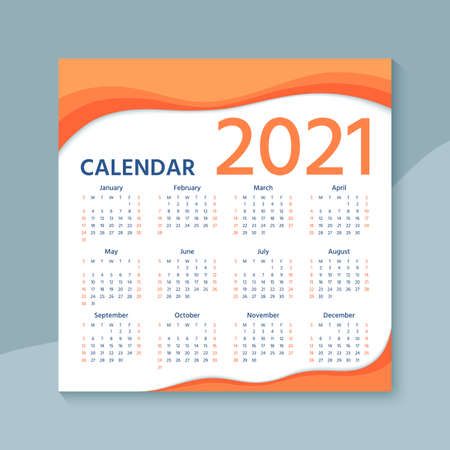 Calendar 2021 year. Vector. Week starts Sunday. Calender layout. Stationery template. Yearly organizer with 12 months in english. Color illustration Stock Illustratie