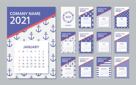 2021 Calendar. Vector. Week starts Sunday. Calender layout. Yearly organizer with 12 month. Wall year template in nautical, marine style. Portrait vertical orientation, English. Navy blue illustration