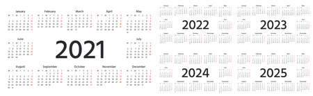 Calendar 2021, 2022, 2023, 2024, 2025 years. Vector. Week starts Monday. Simple layout pocket, wall calenders. Desk calendar template. Yearly Stationery organizer with 12 months. Landscape orientation Stock Illustratie