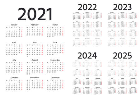 Calendar 2021, 2022, 2023, 2024, 2025 years. Vector. Week starts Monday. Simple layout of pocket or wall calenders. Desk calendar template. Yearly Stationery organizer in minimal design, English.
