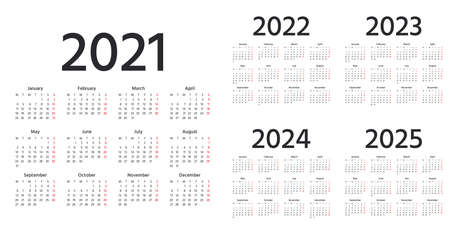 Calendar 2021, 2022, 2023, 2024, 2025 years. Vector. Week starts Monday. Simple calender layout. Desk calendar template. Yearly stationery organizer in minimal style English. Square shape illustration