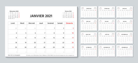 2021 planner in french. Calendar template. Week starts Monday. Vector. Calender layout.Table schedule grid with 12 month. Yearly stationery organizer. Horizontal monthly diary. Simple illustration.