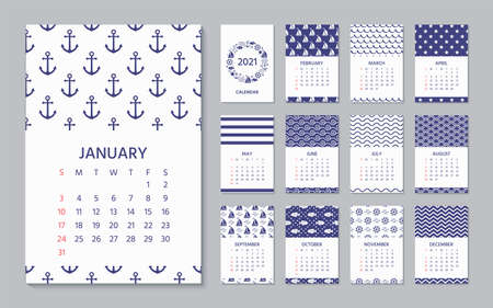 2021 Calendar. Vector. Week starts Sunday. Calender template in nautical, marine style. Yearly organizer with 12 month. Wall year layout. Portrait vertical orientation, English. Navy blue illustration Stock Illustratie