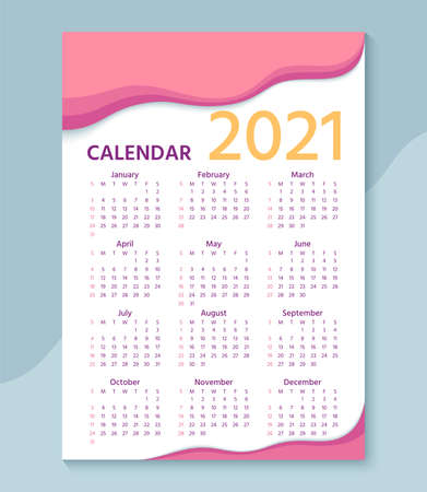 Calendar 2021 year. Week starts Sunday. Stationery layout with 12 months. Yearly organizer in english. Template of pocket or wall calenders. Horizontal landscape orientation. Vector illustration