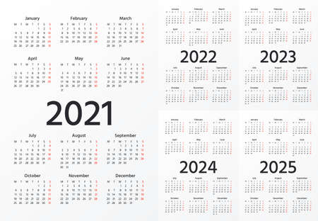 Calendar 2021, 2022, 2023, 2024, 2025 years. Vector. Week starts Monday. Simple layout of pocket or wall calenders. Stationery calendar template. Yearly organizer. Landscape orientation, English.