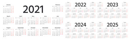 Calendar 2021, 2022, 2023, 2024, 2025 years. Vector. Week starts Monday. Simple layout of pocket or wall calender. Desk calendar template. Yearly stationery organizer. Horizontal landscape orientation