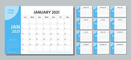 Planner 2021 year. Calendar template. Week starts Sunday. Vector. Yearly stationery organizer. Table schedule grid. Calender layout. Horizontal monthly diary with 12 month. Simple illustration.