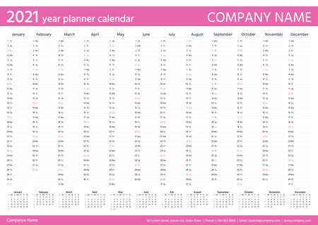 2021 year planner calendar. Desk calender template. Vector. Annual organizer. Week starts Sunday. Schedule page. Agenda diary with 12 months in English. Business illustration in simple design. Stock Illustratie