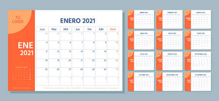 2021 Spanish planner. Calendar template. Week starts Monday. Vector. Calender layout with 12 month. Yearly stationery organizer. Table schedule grid. Horizontal monthly diary. Simple illustration