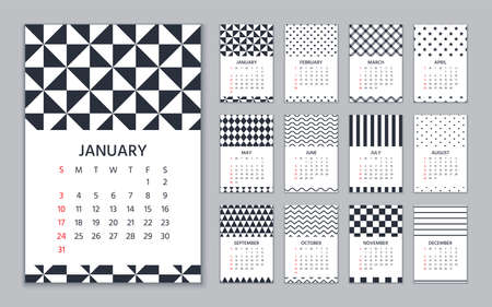 Calendar 2021 year. Vector illustration. Wall calender in geometric design.