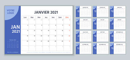 2021 French planner. Calendar template. Vector. Week starts Monday. Calender layout with 12 month. Yearly stationery organizer. Table schedule grid. Horizontal monthly diary. Simple illustration
