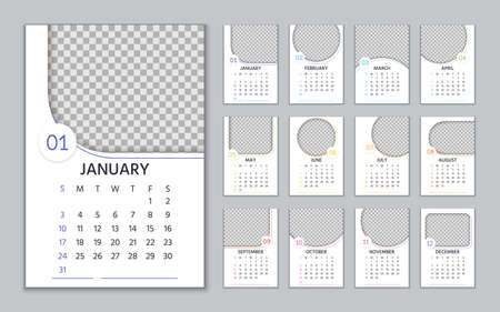 2021 Calendar. Vector. Wall alender template. Week starts Sunday. Year layout with 12 month. Yearly organizer. Portrait vertical orientation, English. Simple illustration