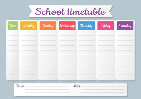 School timetable. Schedule for kids. Weekly time table with lessons. Colorful student plan template. Vector illustration. Educational classes diary. Simple design on English, A4 paper size.