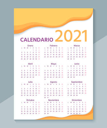 Spanish Calendar 2021 year. Vector. Week starts Monday. Simple template of wall Spain calender. Stationery layout with 12 months. Yearly organizer. Portrait vertical orientation. Illustration. Stock Illustratie
