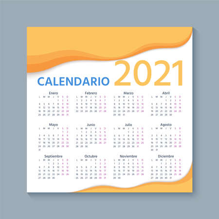 Spanish Calendar 2021 year. Week starts Monday. Simple template of Spain calender. Stationery layout with 12 months. Yearly organizer in Spanish. Vector illustration.