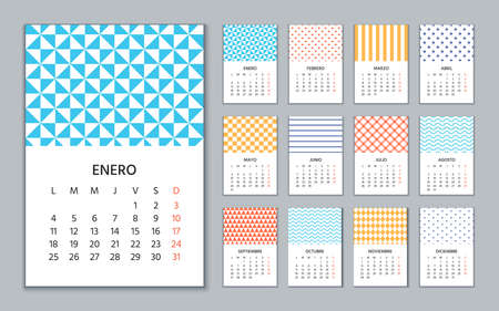 Spanish Calendar 2021 year. Week starts Monday. Wall template of Spain calender. Stationery layout with 12 months. Yearly organizer in Spanish. Vector illustration. Portrait vertical orientation