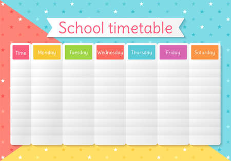 School schedule. Timetable for kids. Weekly time table with lessons. Colorful student plan template. Educational classes diary. Vector illustration. Simple design on English, A4 paper size.