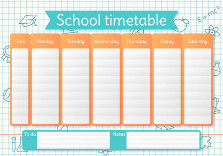 School timetable. Schedule for kids. Weekly time table with lessons. Student plan template on a sheet in a cage with linear school icons. Vector illustration. Educational classes diary in English, A4.